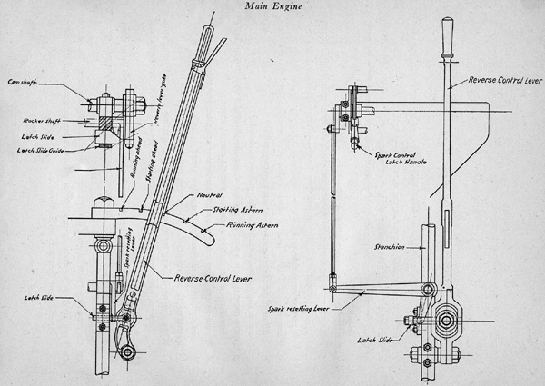 Subchaser engine reverse lever