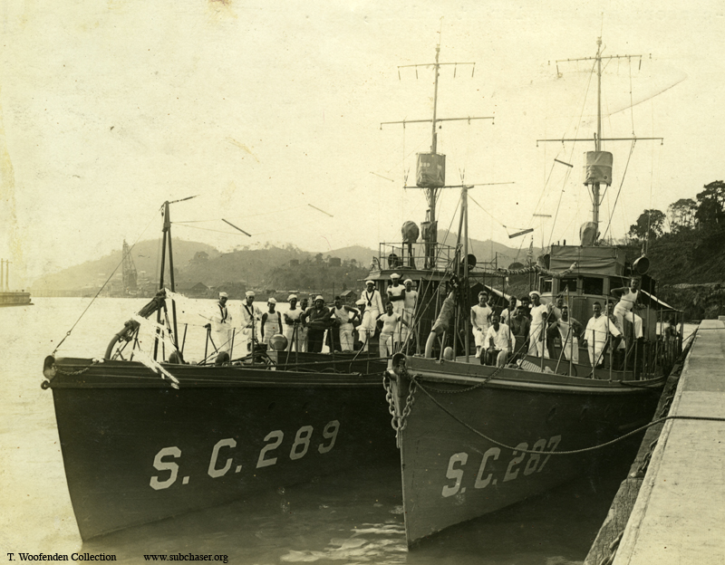 Submarine chasers SC 287 and SC 289 at Balboa, Panama Canal Zone