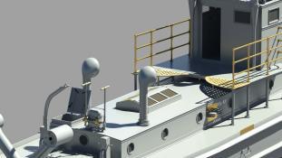 Pump / Hatch to engine room / Bridge - 3D Model by Vladimir Kuchumov