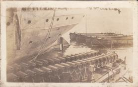 Depth charges on a barge of some sort.   Bob Duffy Collection