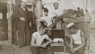 "Record player. SC 284. MM2 Clyde A. ""Cody"" Carlson photos, Collection of Thomas Manville Brady"