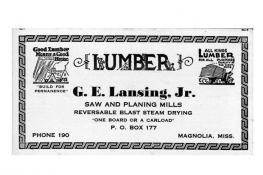 Business card for Lansing Lumber Co
