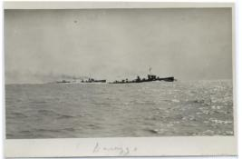 Durazzo Harbor: Ships in the harbor, during the Durazzo engagement of 2 October 1918. G.S. Dole Collection.