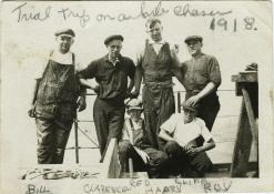Shipyard workers on a trial run. T. Woofenden Collection.