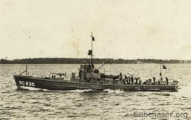 Photograph of submarine chaser SC 235. T. Woofenden Collection.