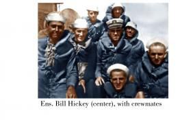 Colorized photo of Ens. William Hickey and crewmen on SC 262.
