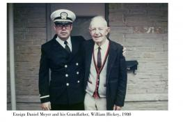 Daniel D. Meyer in 1980, a newly minted ensign, with his grandfather, William K. Hickey.