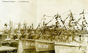 Submarine chaser SC 151 and others, Azores. T. Woofenden Collection