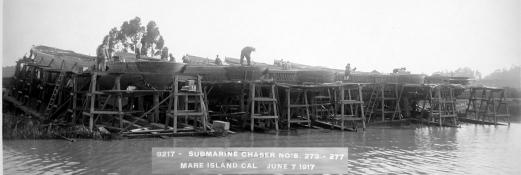 Subchasers SC 273 and SC 277 under construction at Mare Island, CA.