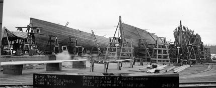 Subchasers SC 288, SC 289 and SC 290 under construction at Puget Sound, WA.