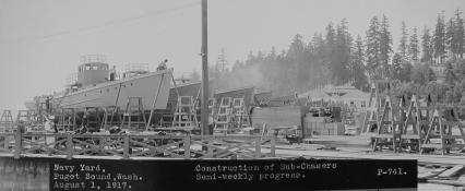 Subchasers under construction at Puget Sound, WA, 1 August 1917.