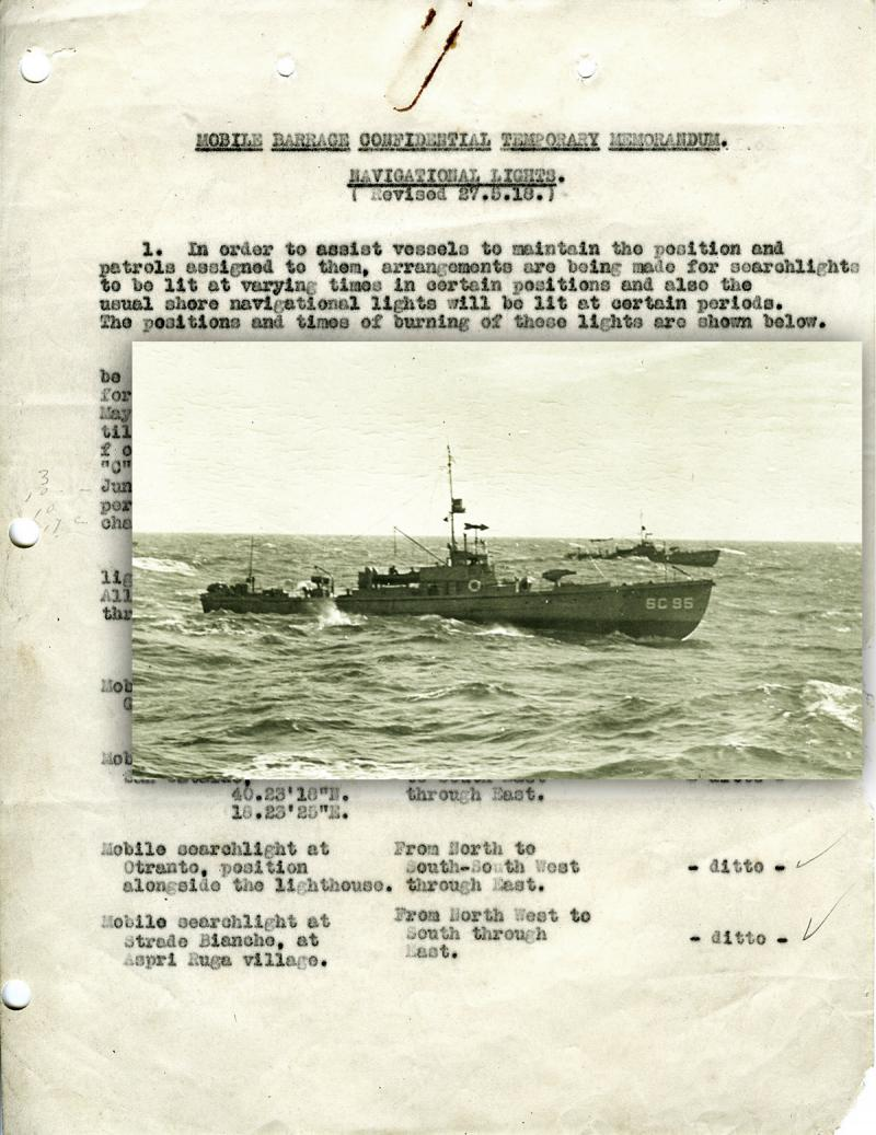 Searchlights memorandum and overlay of subchaser SC 95